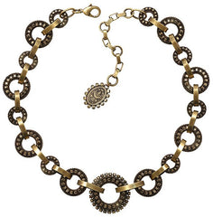 necklace collier Rock 'n' Glam brown antique brass