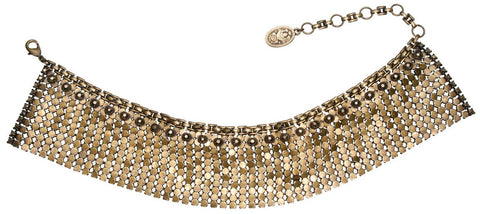 necklace choker Rock 'n' Glam brown antique brass
