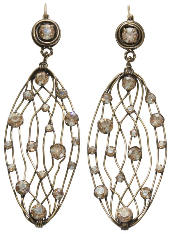 earring eurowire dangling Cages beige antique brass