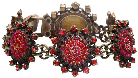 bracelet Kalinka red antique brass