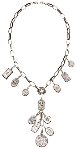 necklace-Y Sinners and Saints white antique silver