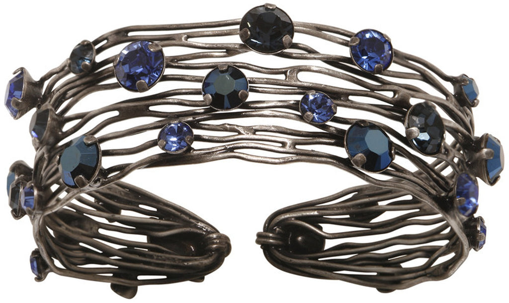 bracelet bangle Cages blue antique silver