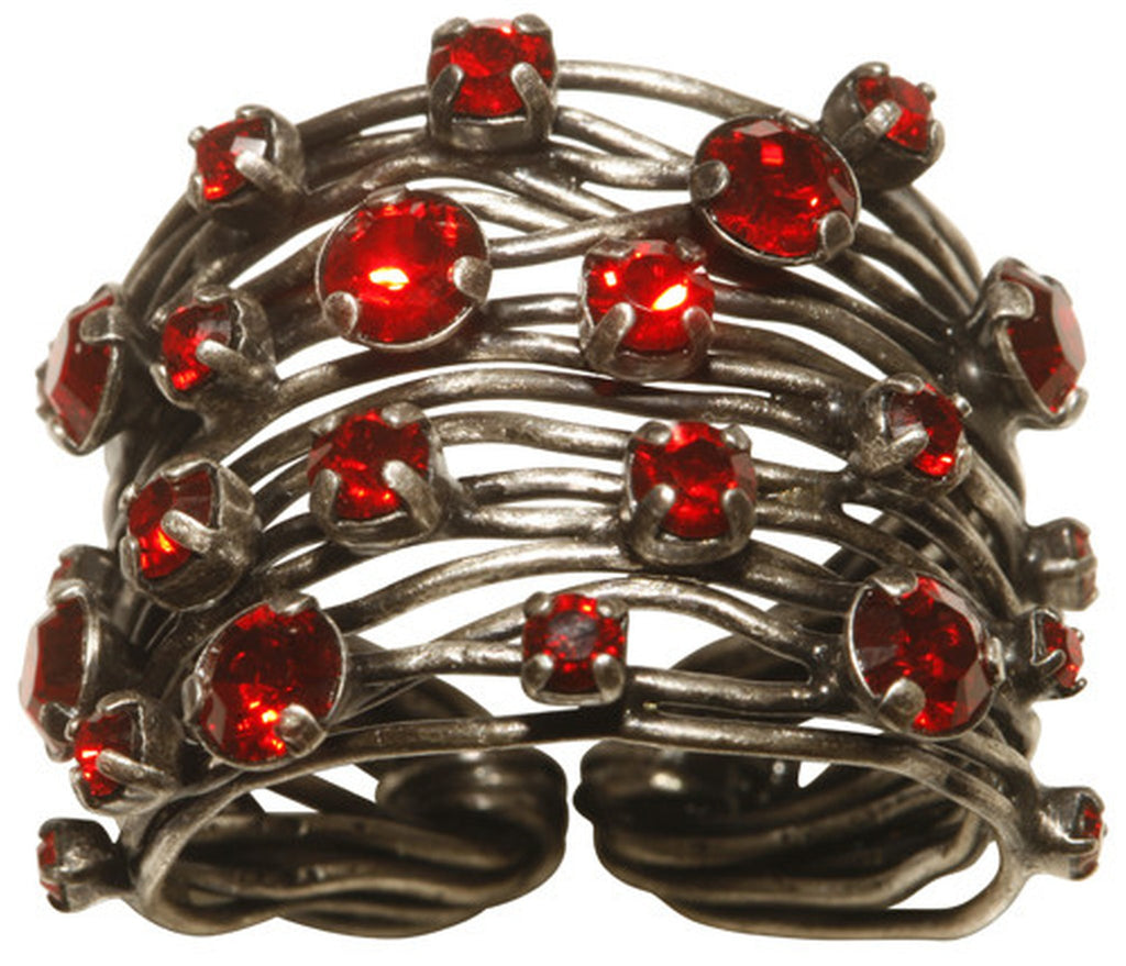 ring Cages red antique silver
