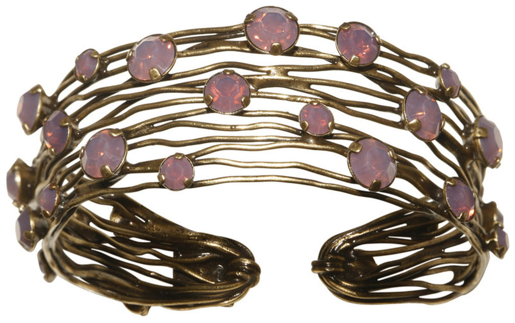 bracelet bangle Cages pink antique brass