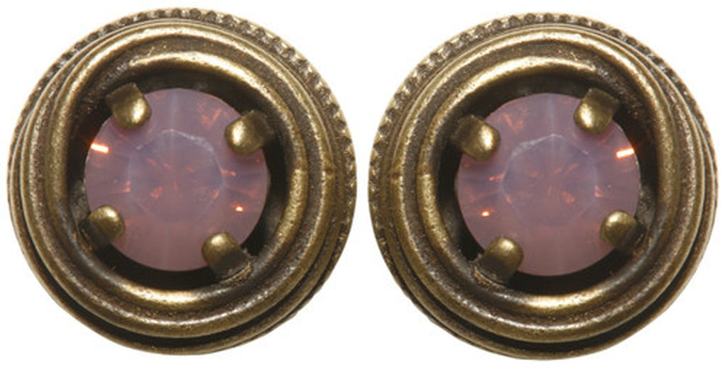 earring stud Cages pink antique brass SS 29