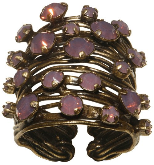 ring Cages pink antique brass