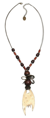 necklace-Y Beduin brown antique silver/antique brass