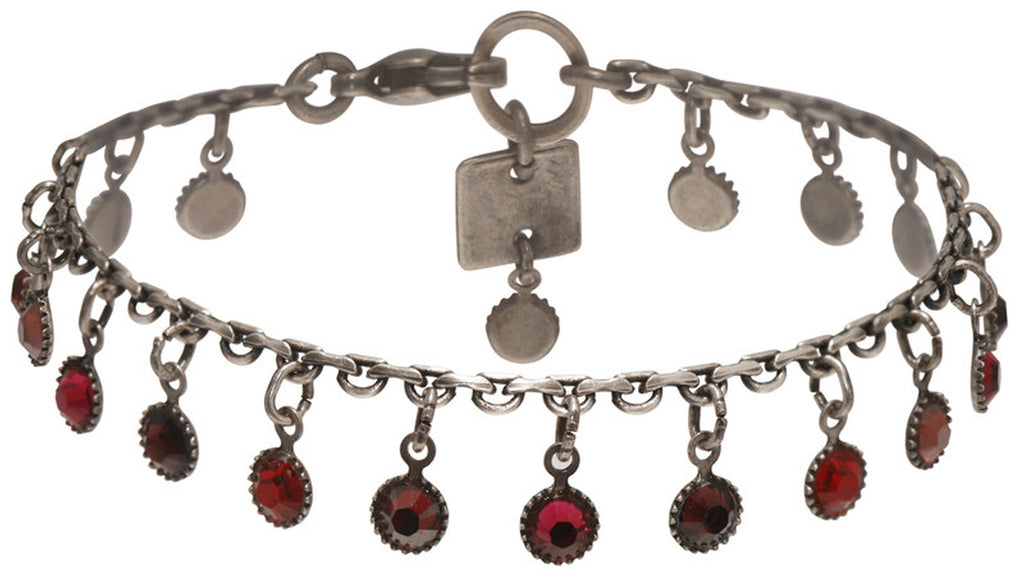 bracelet Waterfalls red antique silver
