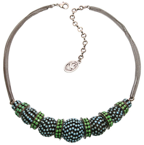 necklace Africanica green/turquoise antique silver