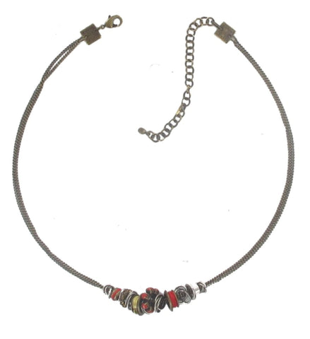 necklace Beduin red antique silver/antique brass