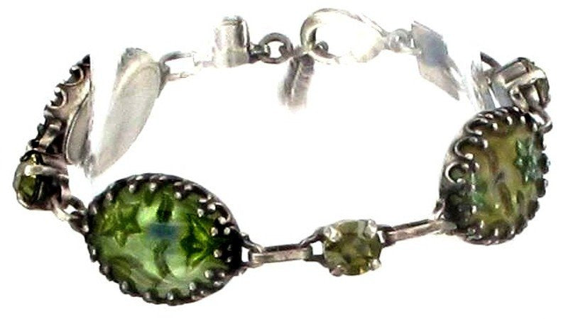 bracelet Chinoiserie yellow/green antique silver