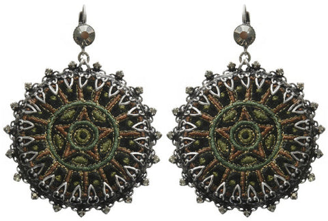 earring eurowire dangling Kalinka dark green antique silver