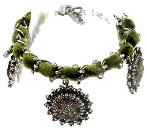 bracelet Kalinka dark green antique silver