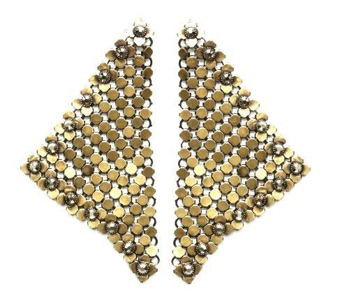 earring stud dangling Rock 'n' Glam brown antique brass