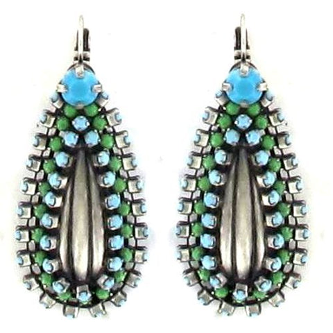 earring eurowire Africanica green/turquoise antique silver