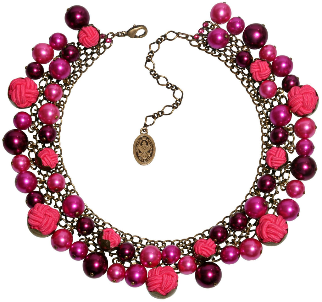 necklace collier Bubble Pearls dark rose antique brass