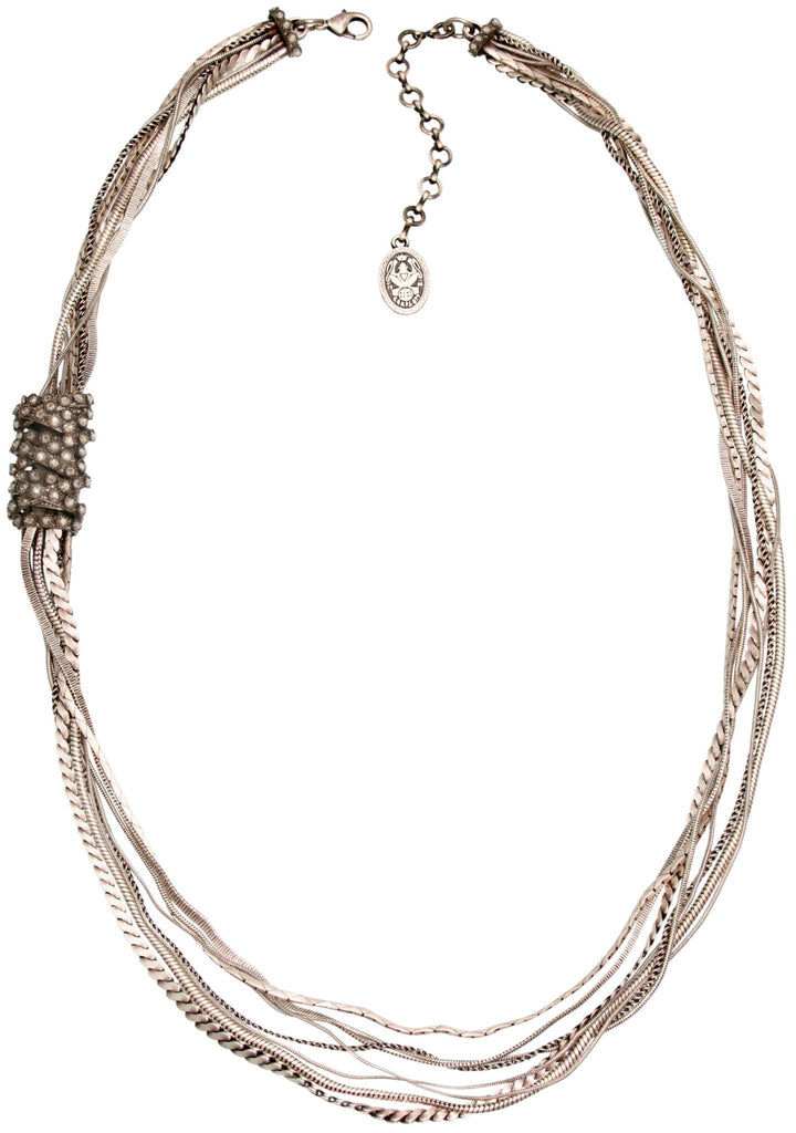 necklace (long) Gordian Knot white Light antique silver