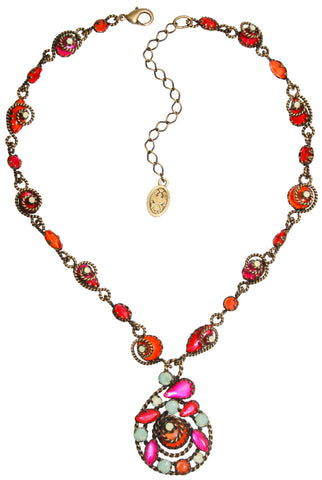 necklace-Y Twisted Lady red antique brass