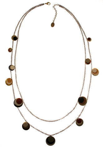 necklace (long) Lollipop beige/brown Antique Brass Light