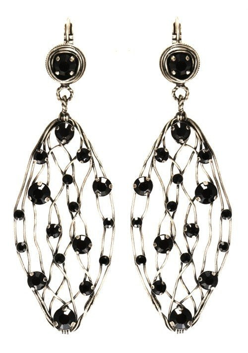 earring eurowire dangling Cages blue antique silver