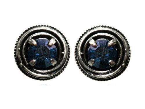 earring stud Cages blue antique silver