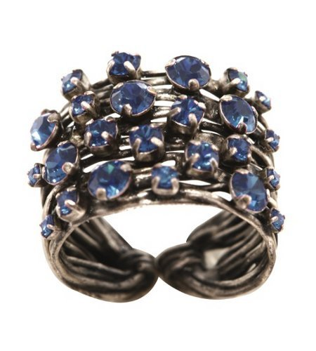 ring Cages blue antique silver