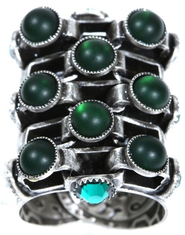 ring Neon Lights Industrial green antique silver large