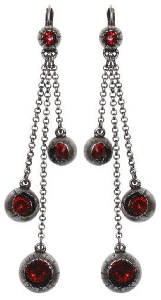 earring eurowire dangling Cocoon red antique silver