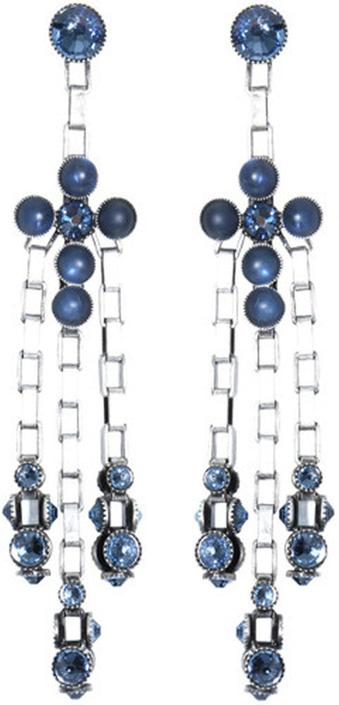earring stud dangling Neon Lights Industrial blue antique silver