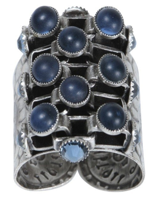 ring Neon Lights Industrial blue antique silver large