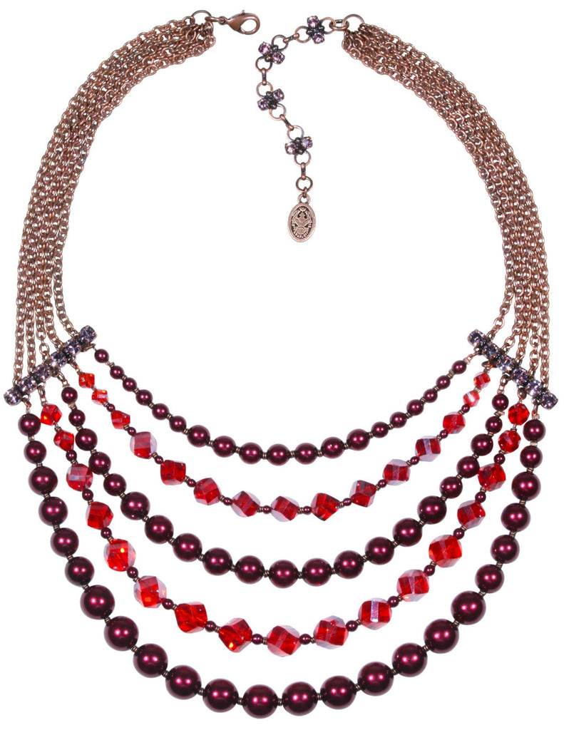 necklace collier MyRouge red antique copper