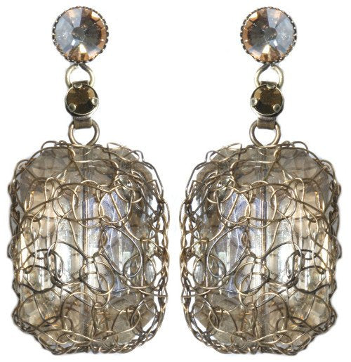 earring stud dangling Ice Cocoon beige antique brass large