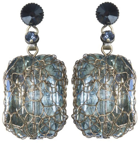 earring stud dangling Ice Cocoon black/grey antique brass large