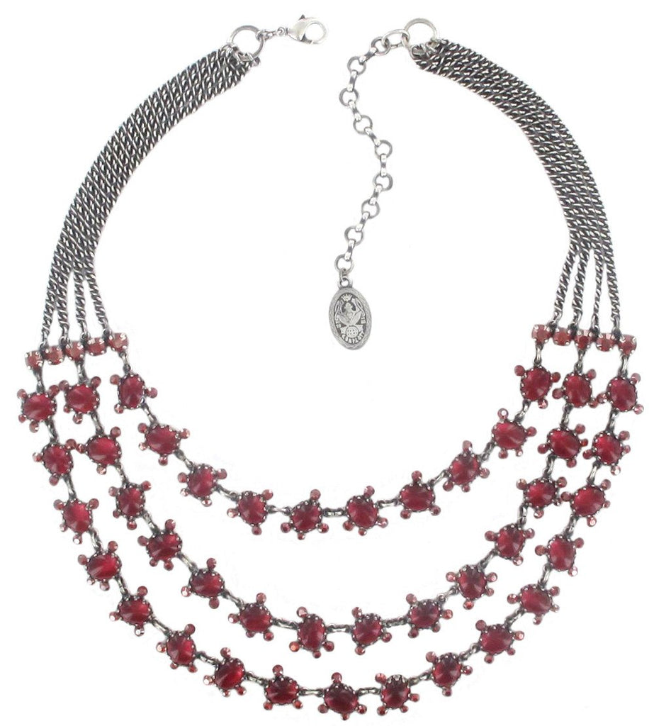 necklace collier Melody Drops red antique silver