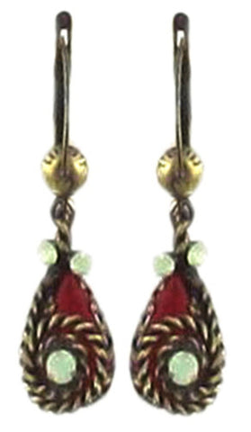 earring dangling Twisted Lady red antique brass