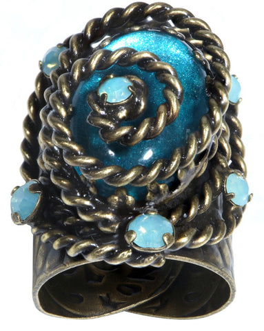 ring Twisted Lady blue antique brass
