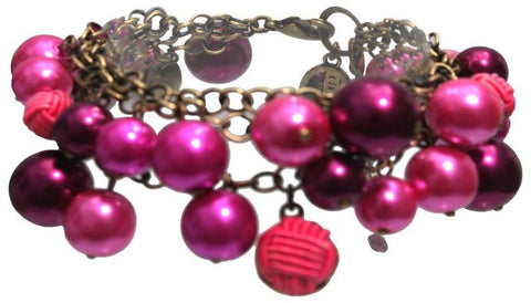 bracelet charming Bubble Pearls dark rose antique brass