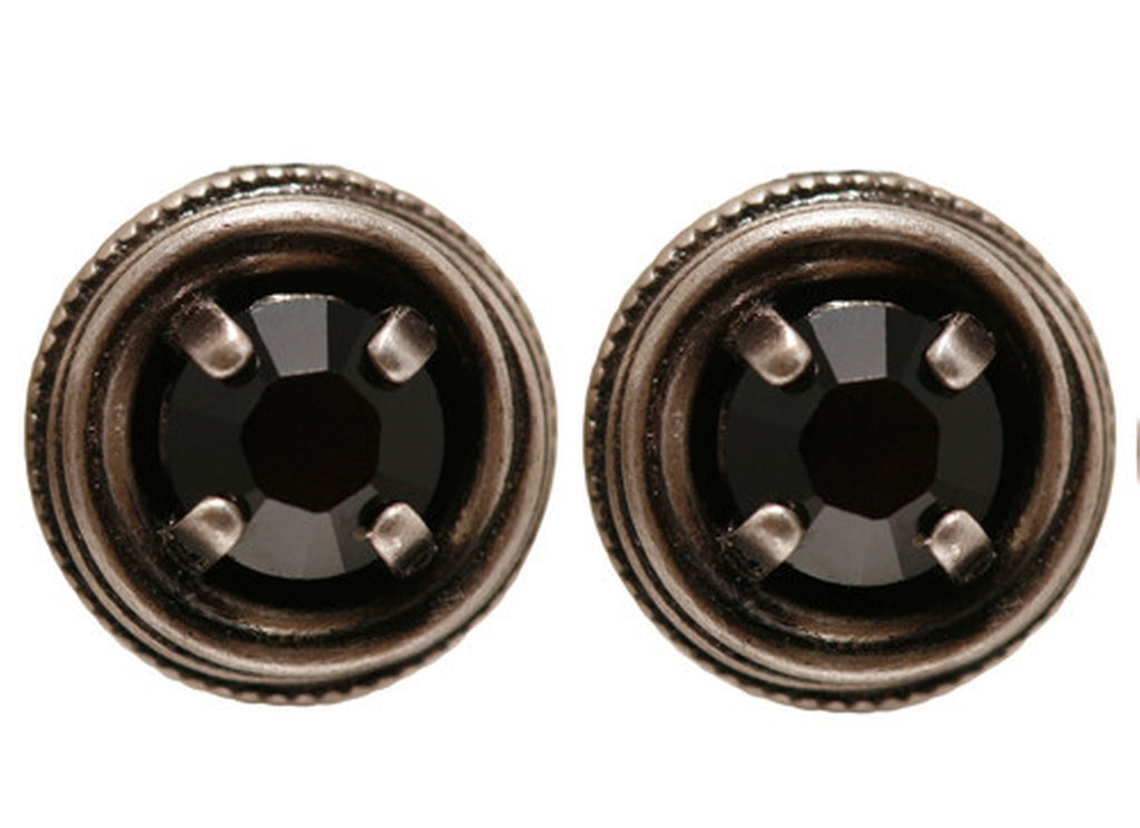 earring stud Cages black antique silver SS 29