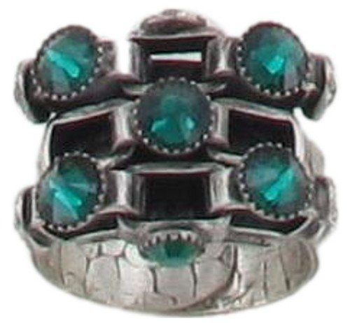 ring Neon Lights Industrial green antique silver extra small