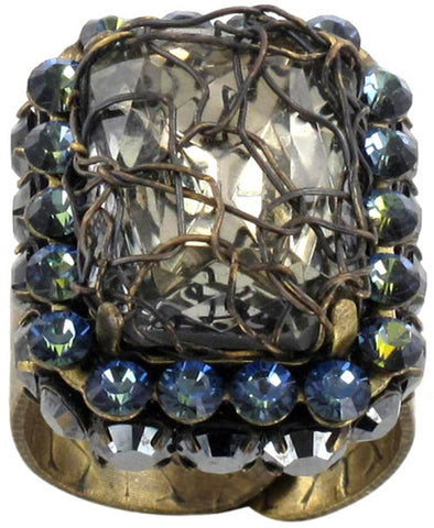 ring Ice Cocoon black/grey antique brass medium