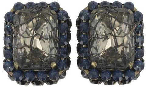 earring clip Ice Cocoon black/grey antique brass medium