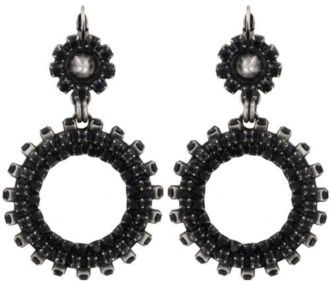 earring eurowire dangling Africanica black antique silver