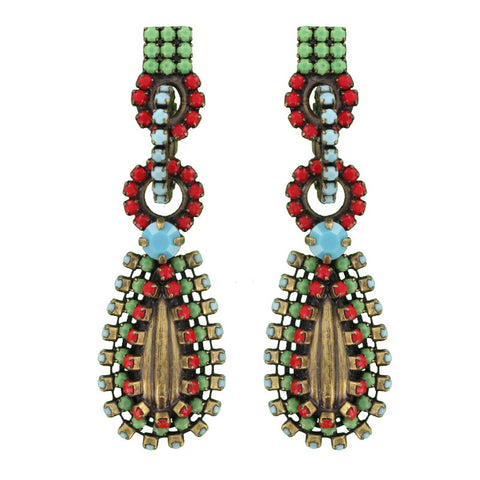 earring stud dangling Africanica multi antique brass