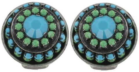 earring clip Africanica green/turquoise antique silver
