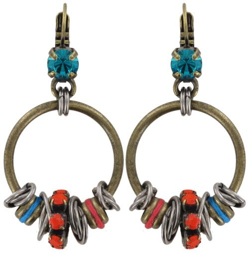 earring eurowire dangling Beduin multi/orange antique silver/antique brass