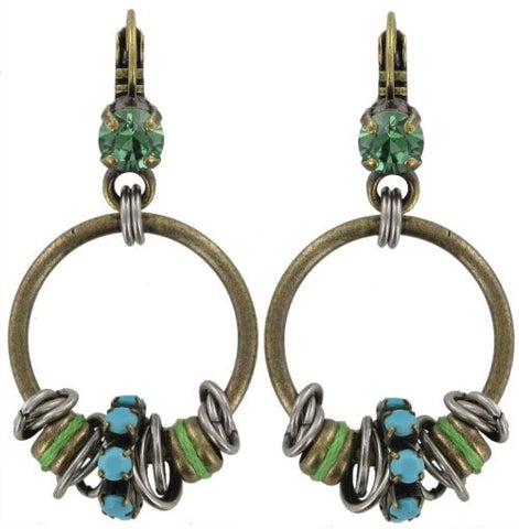 earring eurowire dangling Beduin turquoise antique silver/antique brass