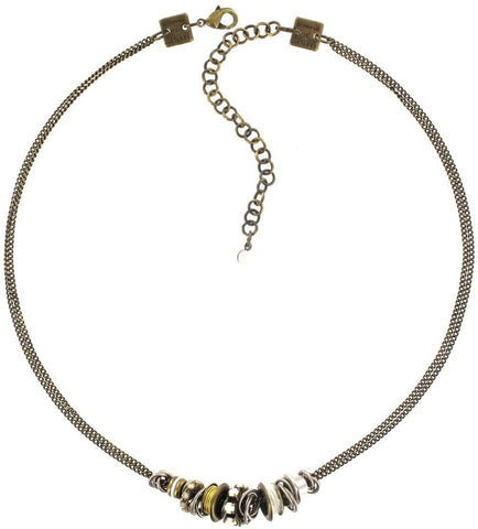 necklace Beduin white/opac antique silver/antique brass