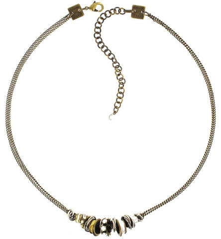 necklace Beduin white antique silver/antique brass