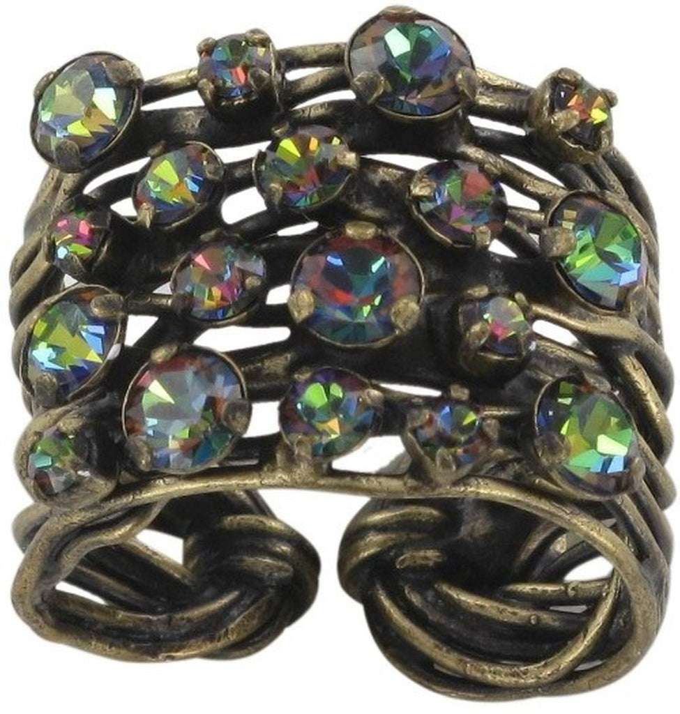 ring Cages blue/green antique brass medium