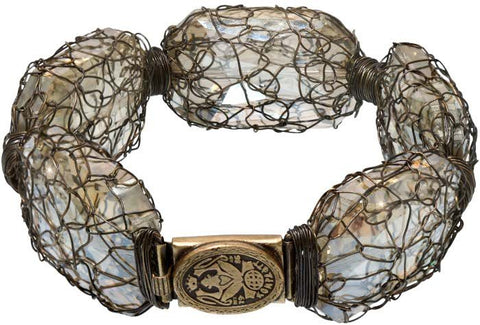 bracelet Ice Cocoon beige antique brass extra large